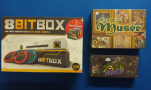 8BITBOX the first generation board game console 3 games included, Alf Seegert's Musee collect and curate classic art; Zombie Sheep! 2-4 players Ages 13+